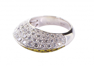 3. Chopard Yellow and White Diamond White Gold Ring