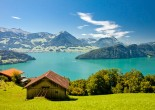 Lake Lucerne region is one of the most famous tourist destinations in the world. It features complicated shape and the shoreline of the lake rises steeply into the mountains.